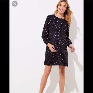 Loft maternity Black & white polka dot flare dress